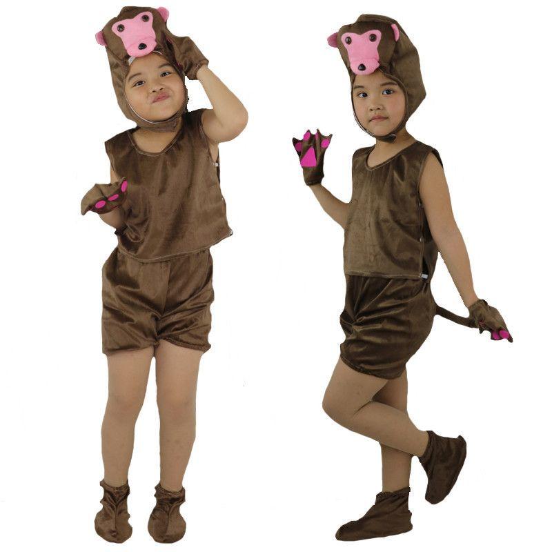 2018 Fashion Children Monkey Short Animal Costume Kids Stage Perfromance Cosplay Clothes Halloween Birthday Dress Supplies