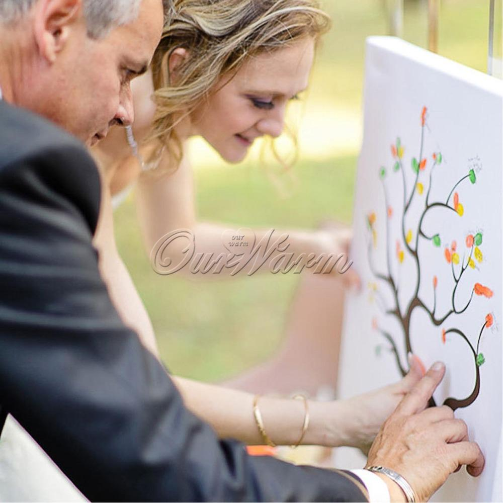 Wedding Anniversary Decorations Wedding Favors and Gifts Fingerprint Tree Signature Guest Book DIY Figure Painting Hot Sale