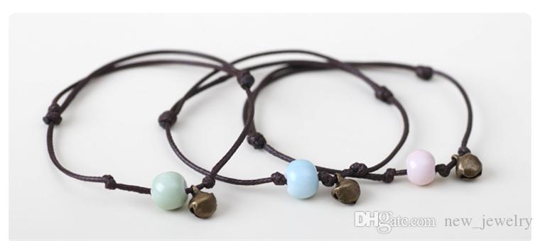 Yeni doğal taş boncuk + Bells bilezik Turkuaz Fırçalayın Akik Taş Renkli 6 MM Boncuk bracele Sisters / arkadaşlar bilezikler Ayarlanabilir Takı