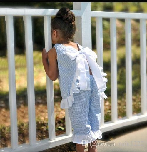 Summer Little Girls Cotton Bow Vest Shorts Clothing Sets Baby Kids Blue Plaid Ruffles Bow Clothes Outfits Children Kids Suits Outfits