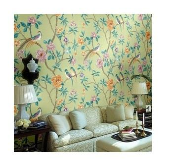 4 Colors Chinese Style Wallpaper Pastoral Flower and Birds Wallpaper Rolls For Living Room Bedroom TV Background Free Shipping