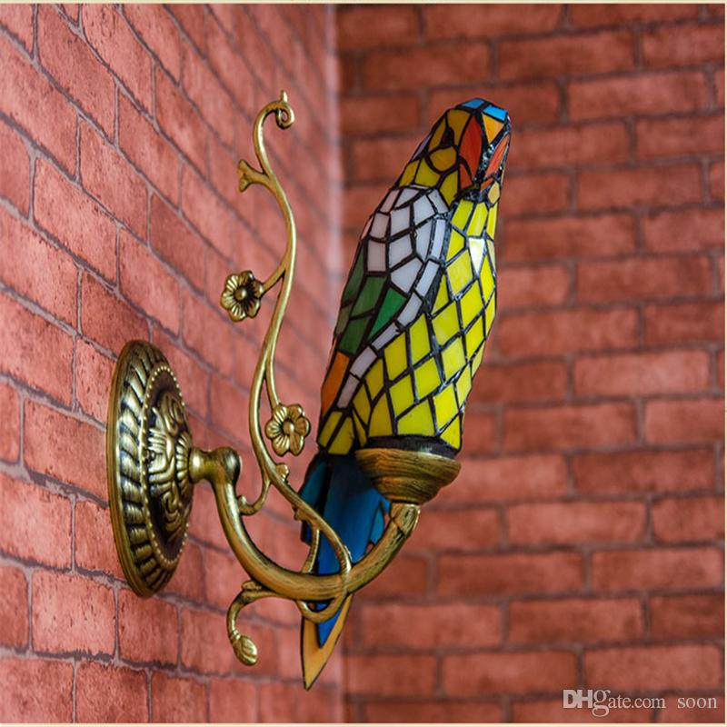 2019 Fumat Parrots Wall Sconce Lamps Stained Glass Decor Wall Lights For Living Room Stair Tiffany Art Parrot Shade Glass Wall Lamps From Soon