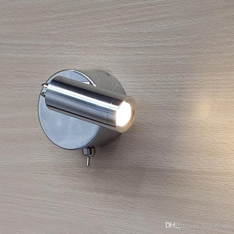 Topoch Wall Base Reading Light ON/OFF Switch Lamps Rotatable Head 3W LED Emitting Optional Focused Illumination Chrome Finish for House Car Boat