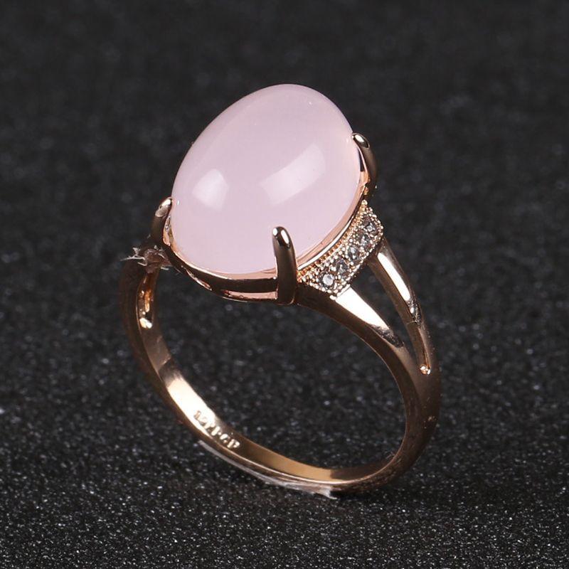 Новая мода розовый Овальный опал Germstone Solitaire кольца 18k позолоченные высокое качество Малый тонкий Fj0002 кубические Цирконы вставлены