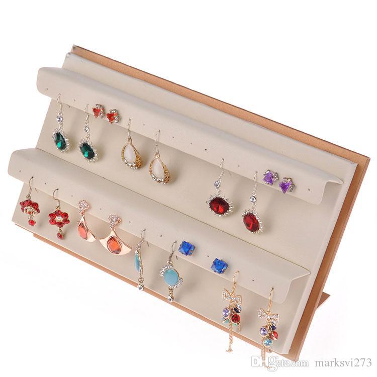 2015 Nowy Przyjeżdża Skórzane Kolczyki Kolczyki Stud Holder Wyświetlacz Biżuteria Uchwyt Stojak Rekwizyty Kolczyk Rack