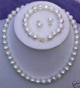 New Fine Genuine Pearl Jewelry Set 9-10mm Real White Pearl Necklace 18inch Bracelet 7.5inch Earring Set