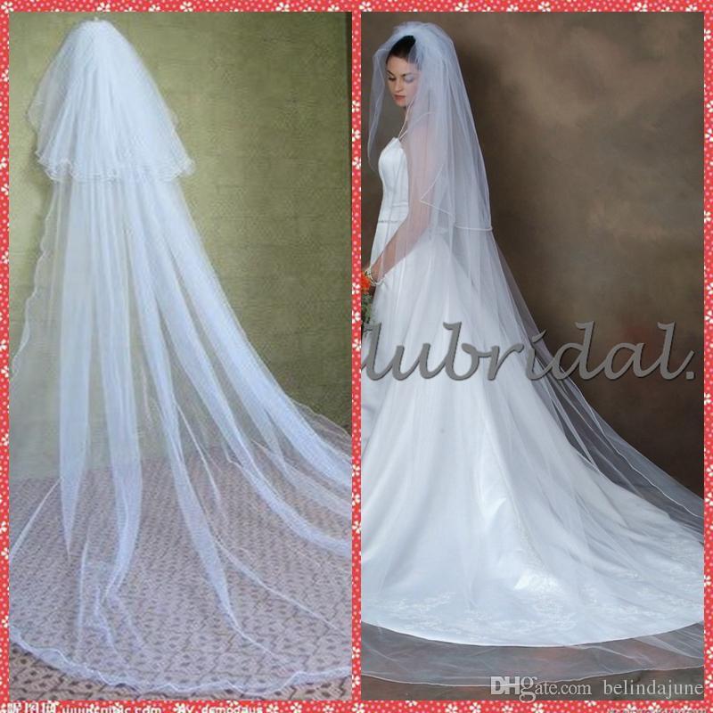 الحجاب الزفاف الكاتدرائية مزدوجة الطبقات 3 أمتار الحجاب الزفاف 2015 الحجاب الأبيض الزفاف خمر اكسسوارات للشعر الزفاف مع مشط