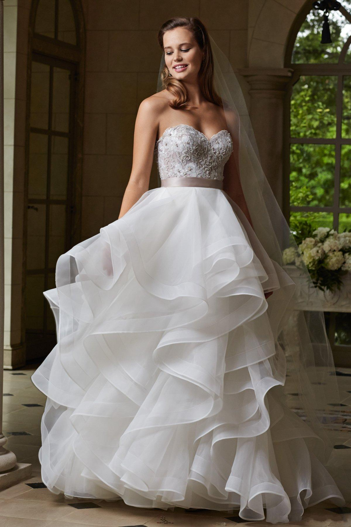 2015 Backless Organza Wedding Gowns Sweetheart Puffy Skirt With ...