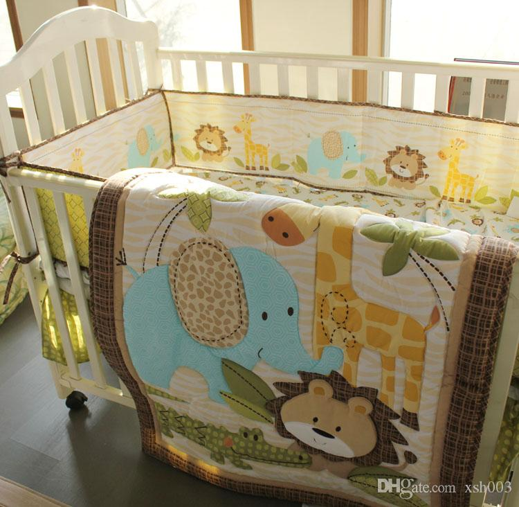 7pcs Baby boy bedding set Pure cotton 3D Embroidery lion elephant giraffe and crocodile Crib bedding set Baby Quilt Bed around Cot bedding