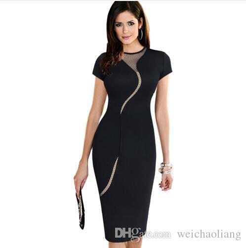 Lcw New Foshon Womens Elegant Sexy Irregular Mesh Back Zipper Club Clubwear Party Cocktail Prom Stretch Bodycon Dress