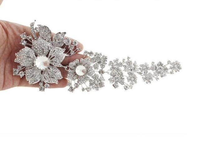 7.5 Inch Extra Large Vintage Rhodium Silver Plated Clear Rhinestone Bridal Brooches Women Party Pins