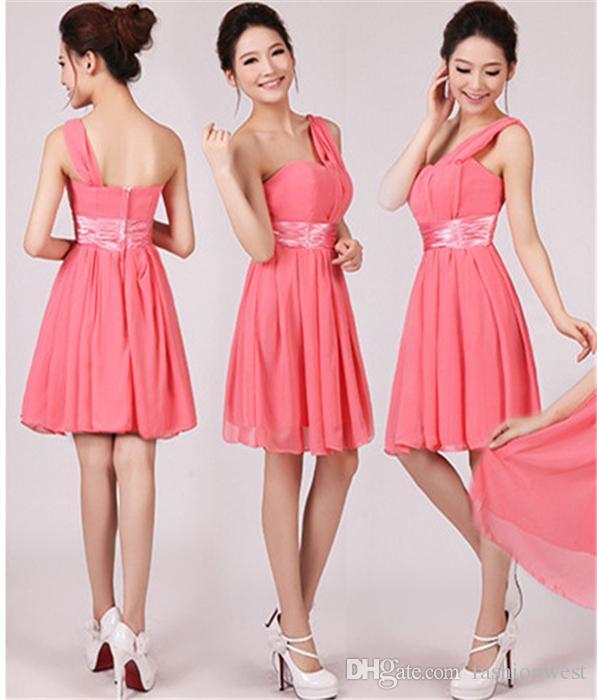 Новые женские элегантный шифон невесты женщин платье и одно плечо платье партии мода женская талия и тонкий вечерняя юбка