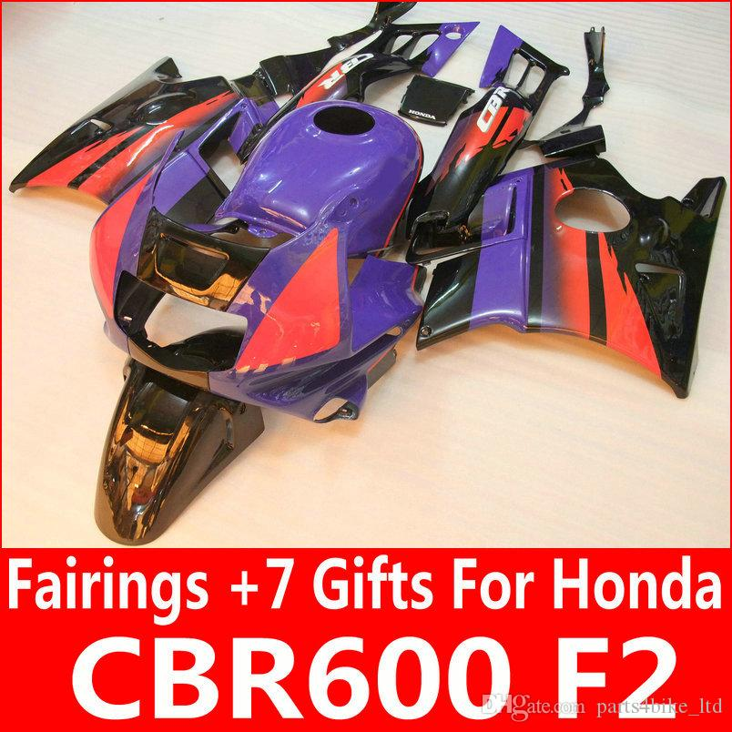 Фиолетовый черный обтекатель комплект для Honda CBR 600 F2 1991 1992 1993 1994 CBR600 F2 91 92 93 94 обтекатели
