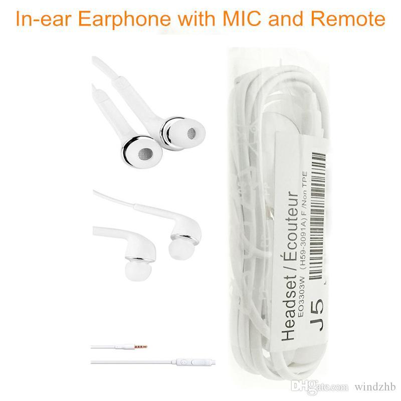 Kopfhörer 3,5 mm J5 In-Ear-Kopfhörer mit Mikrofon Fernbedienung Stereo-Headset mit Logo für Samsung Galaxy S7 S6 S5 S4 Sport Music 100pcs