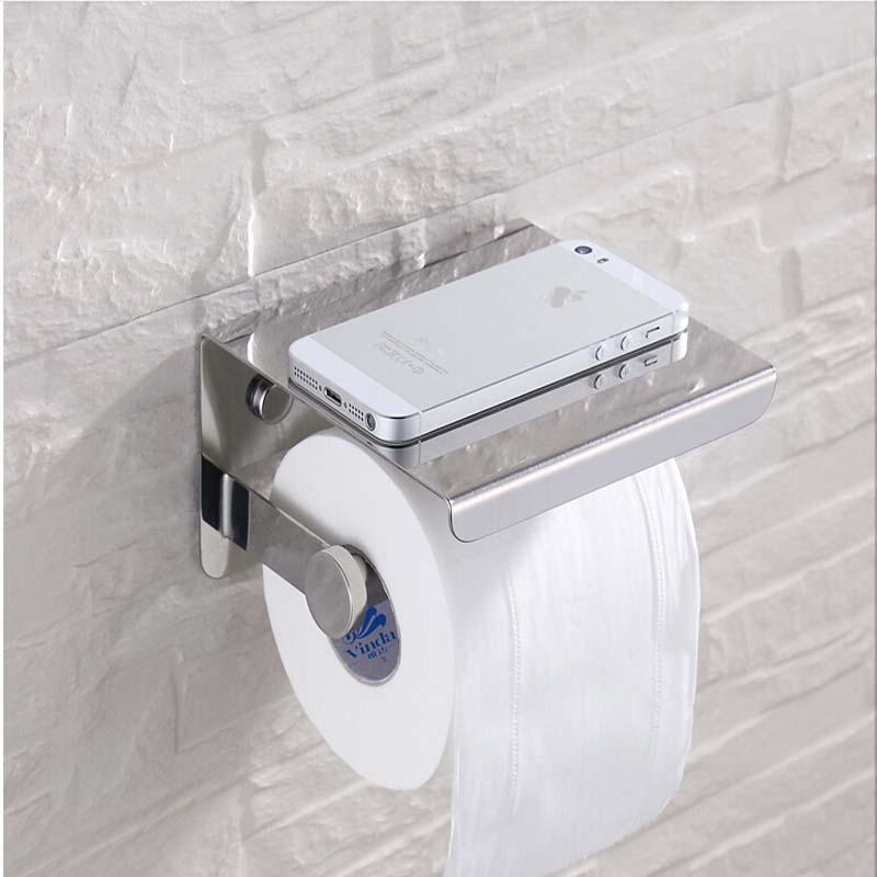 Free Shipping Wholesale And Retail Modern Stainless Steel Bathroom Paper Holder Accessories Shelf Wall Mounted Roll Holder