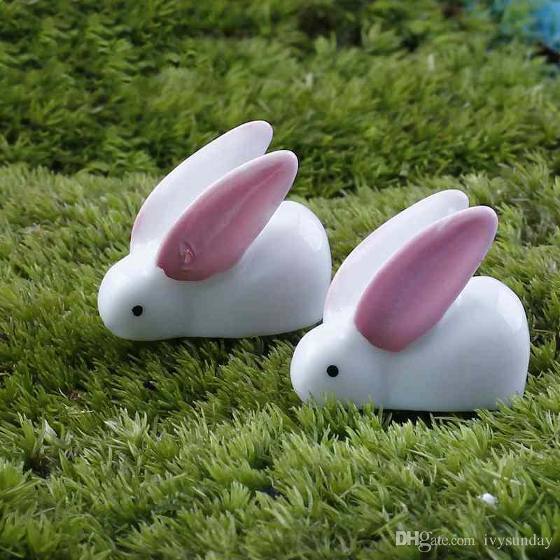 5 Pcs Easter Small Ears White Rabbit Resin Crafts Ornaments Accessories