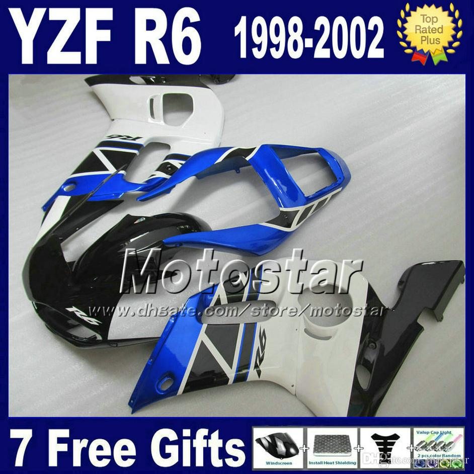 Kit carena in plastica per YAMAHA YZF R6 98-02 YZFR6 YZF-R6 1998 1999 2000 2001 2002 carene blu bianco nero set VB96
