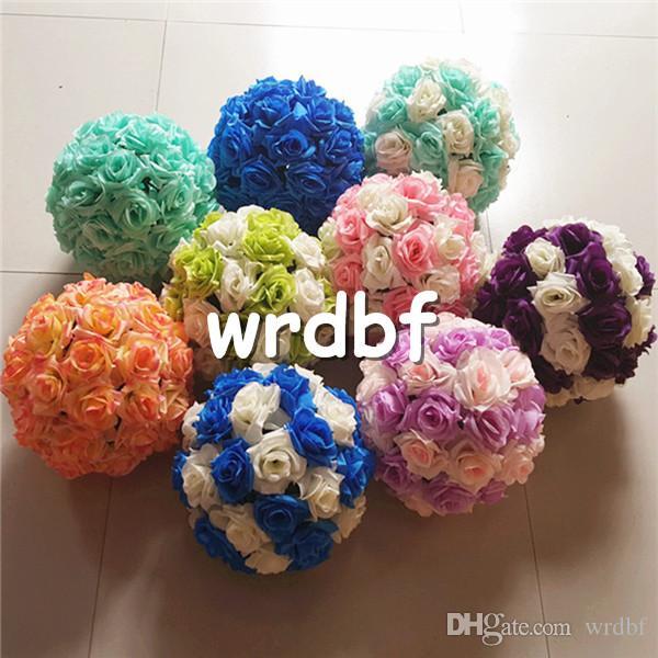 Silk Flower Balls 4pcs 25cm Diameter Kissing Rose Balls 24 Color Designs for Wedding Party Shops Artificial Decorative Flowers