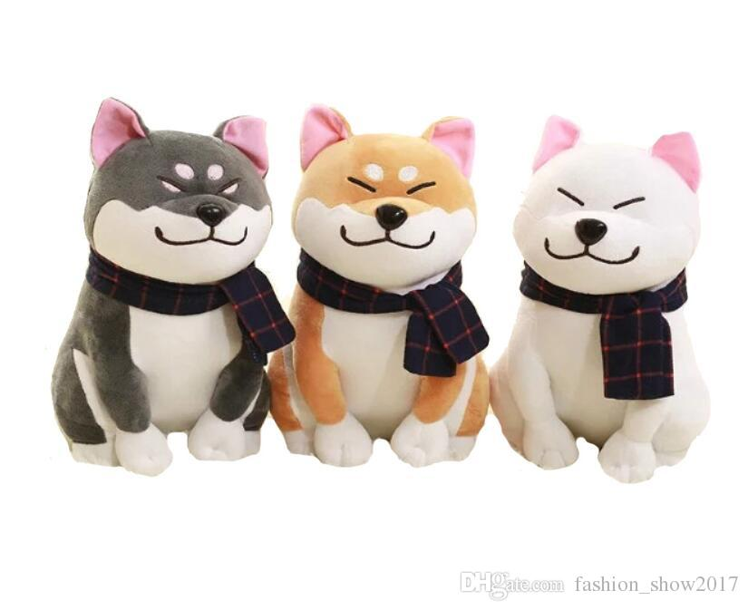 25 centímetros desgaste Scarf Shiba Inu Dog japonês boneca de brinquedo Doge cachorro de pelúcia brinquedos macios animais de pelúcia de presente bonito do bebê