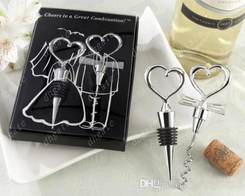 Couple Bride And Groom Wine Bottle Opener And Stopper Sets For