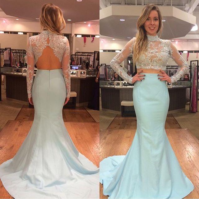 2 개 라이트 블루 인어 이브닝 드레스 높은 목 긴 소매 파란색 레이스 새틴 등이없는 섹시한 스타일 파티 드레스 사용자 정의 만든