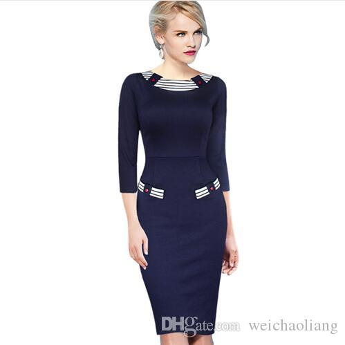 Lcw New Fanshion Womens Elegant Vintage Pinup Colorblock Contrast Party Cocktail Prom Fitted Sheath Pencil blue Dress