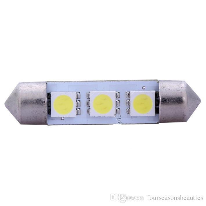 Nuovo Trasporto Libero 10 x Bianco 31/36/39 / 41MM 3 LED 5050 SMD Festoon Dome Car Light Lampadina per Interni 12V LLCA0008