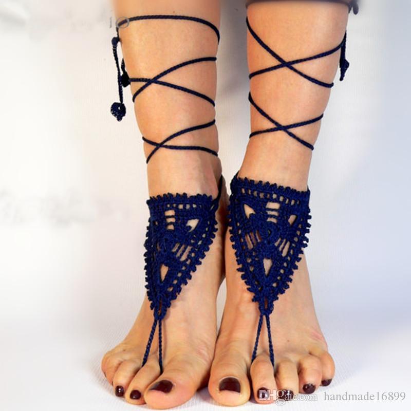 Sandales aux pieds nus au crochet, sandales aux pieds nus de cheville, bijoux de pied, steampunk, dentelle victorienne, sexy, yoya, dentelle noire lolita