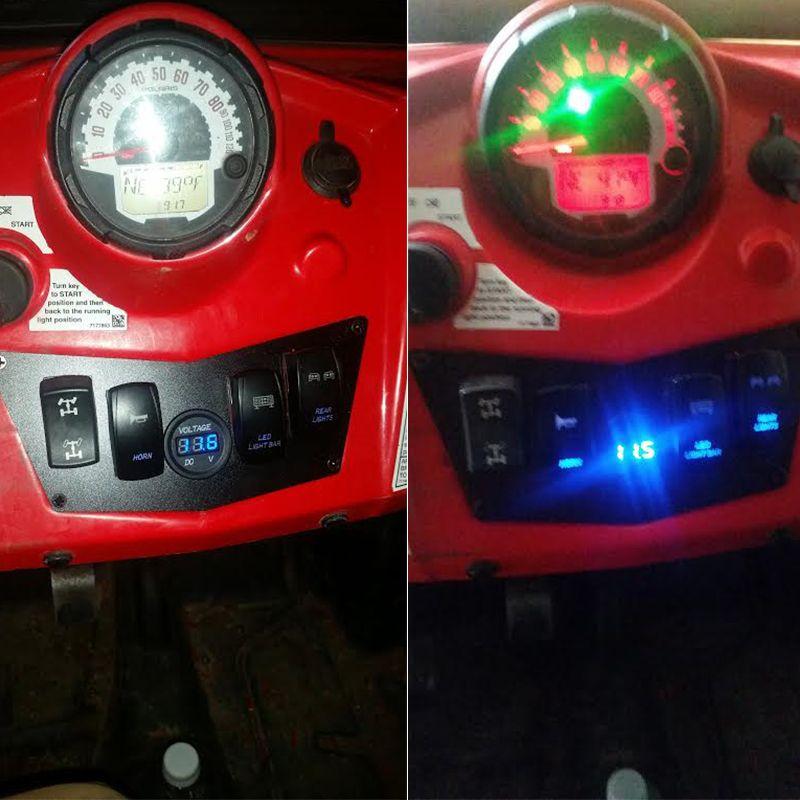Blue 4 Gang Rocker Dash Laser Switch Panel For POLARIS Ranger RZR 800 900 570