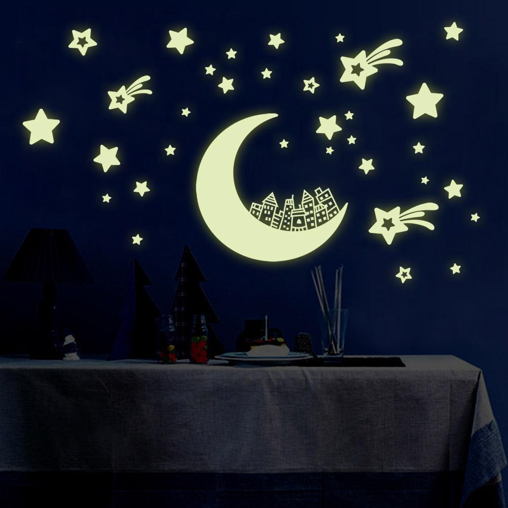 Multiple Colors 100 Pieces 3D Glow In The Dark Stars with Blue Moon Wall Sticker