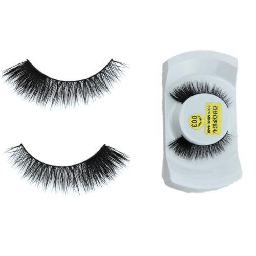 Wholesale- 1 Pair Women Lady Soft 100% Real Mink Natural Thick False Fake Eyelashes Makeup Eye Lashes Extension Xmas Tools