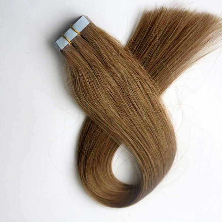 Top Quality 50g 20pcs Glue Skin Weft Tape in human Hair Extensions 18 20 22 24inch #12/Light Golden Brown brazilian Indian hair