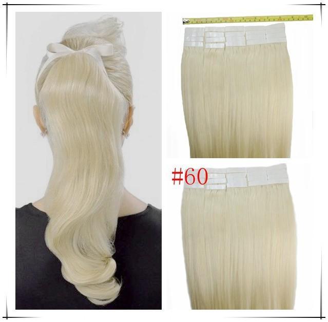 "Wholesale - 14"" - 24"" 100% Human PU EMY Tape Skin Hair Extensions 2.5g/pcs 40pcs&100g/set #60 platinum blonde DHL FREE"