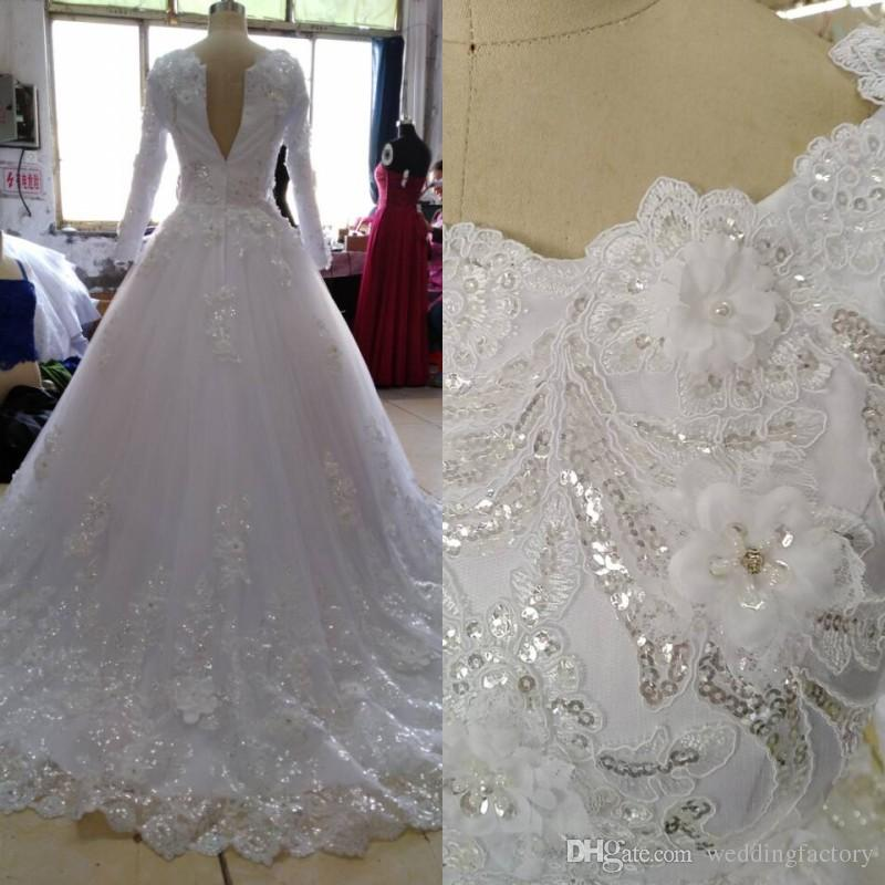 100% Real Pictures Modest Muslim Wedding Dress with Long Sleeves Sparkly Sequins Beads Crystals Pearls 3D Floral Applique Flower Bridal Gown