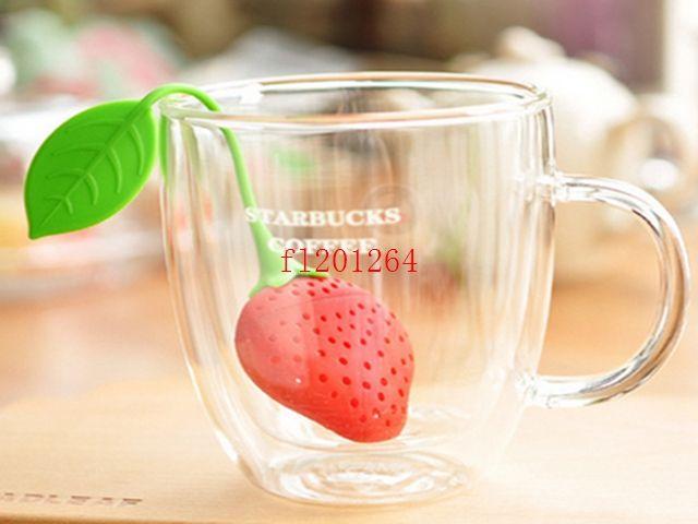 100pcs / lot 페덱스 DHL 무료 배송 실리콘 딸기 디자인 느슨한 차 잎 여과기 초본 향신료 Infuser 필터 도구