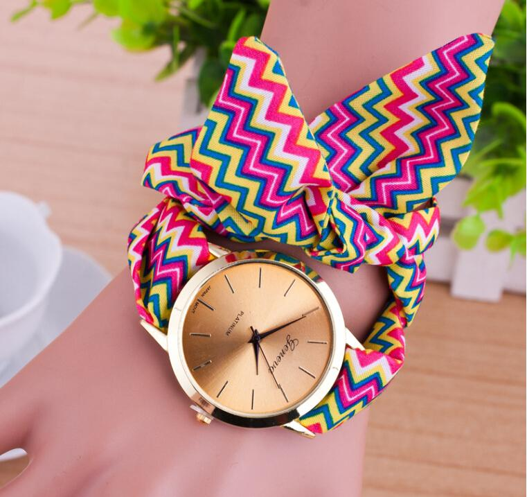 watch analog floral bracelet print chiffon cloth craftbnb quartz watches band tie lace bands free