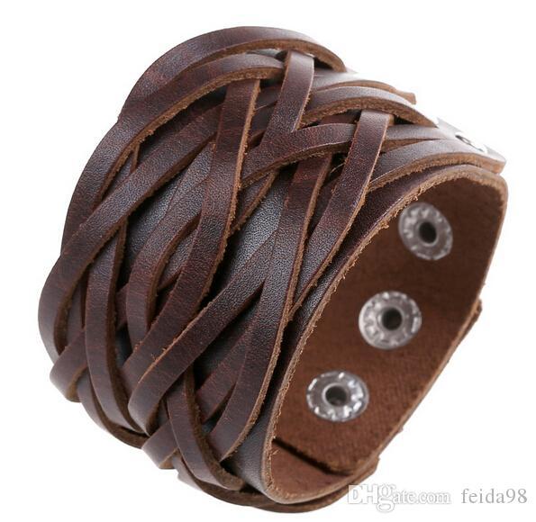 Nuevo Estilo Vintage Antiguo Cinturón Ancho Pulseras de Cuero Genuino Punky Estilo Pulsera de Punto Hombres Joyería DIY Trenza Hecha A Mano HJIA037