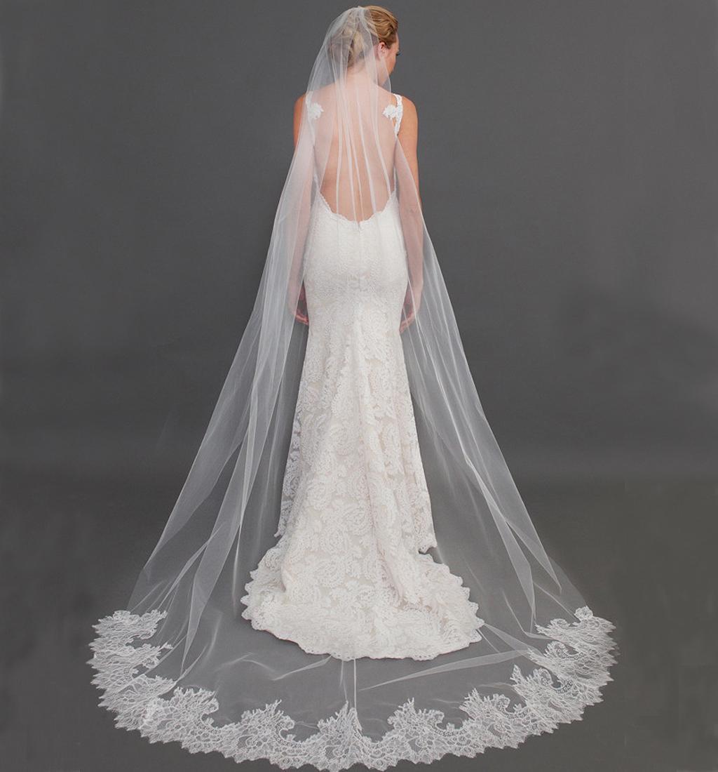 2016 New Arrival Piękne welony ślubne z Eifflebride z ozdobioną koronkową krawędź aplikacją około 2,5 metra długie welony ślubne