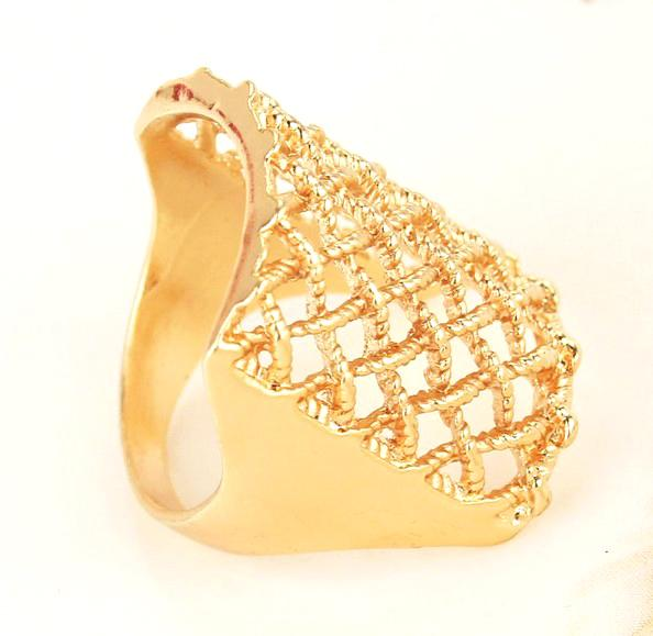 Free Shipping Size 10.0 2015 Women/Men 18k Gold Plated New Designs Square Chic Fashion Ring Jewelry Hot Sale Wholesale