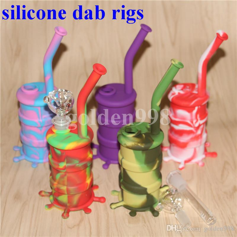 Hot selling silicone water pipe skull glass bong water pipe silicone dab rig Silicone Hookah Bongs