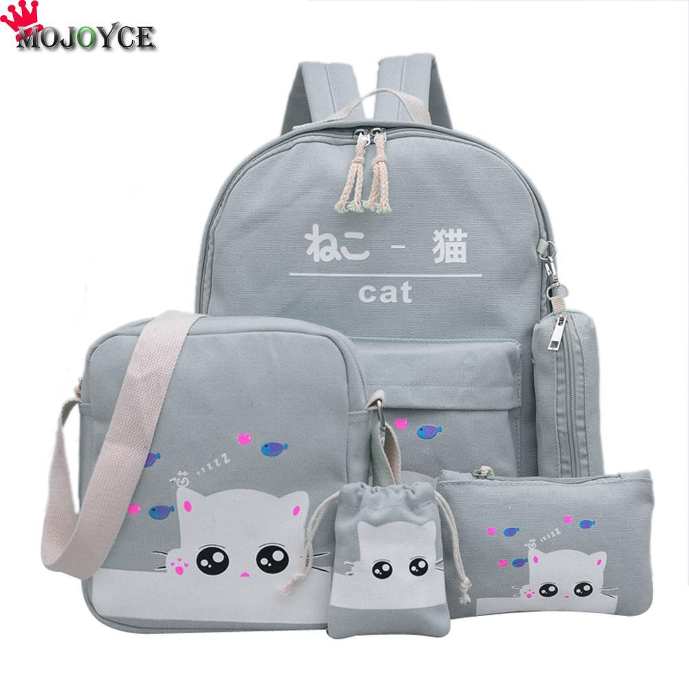 Women Backpack Cat Printing Canvas School Bags For Teenager Girls Preppy Style 4 Set/PC Rucksack Cute Book Bag Mochila Feminina