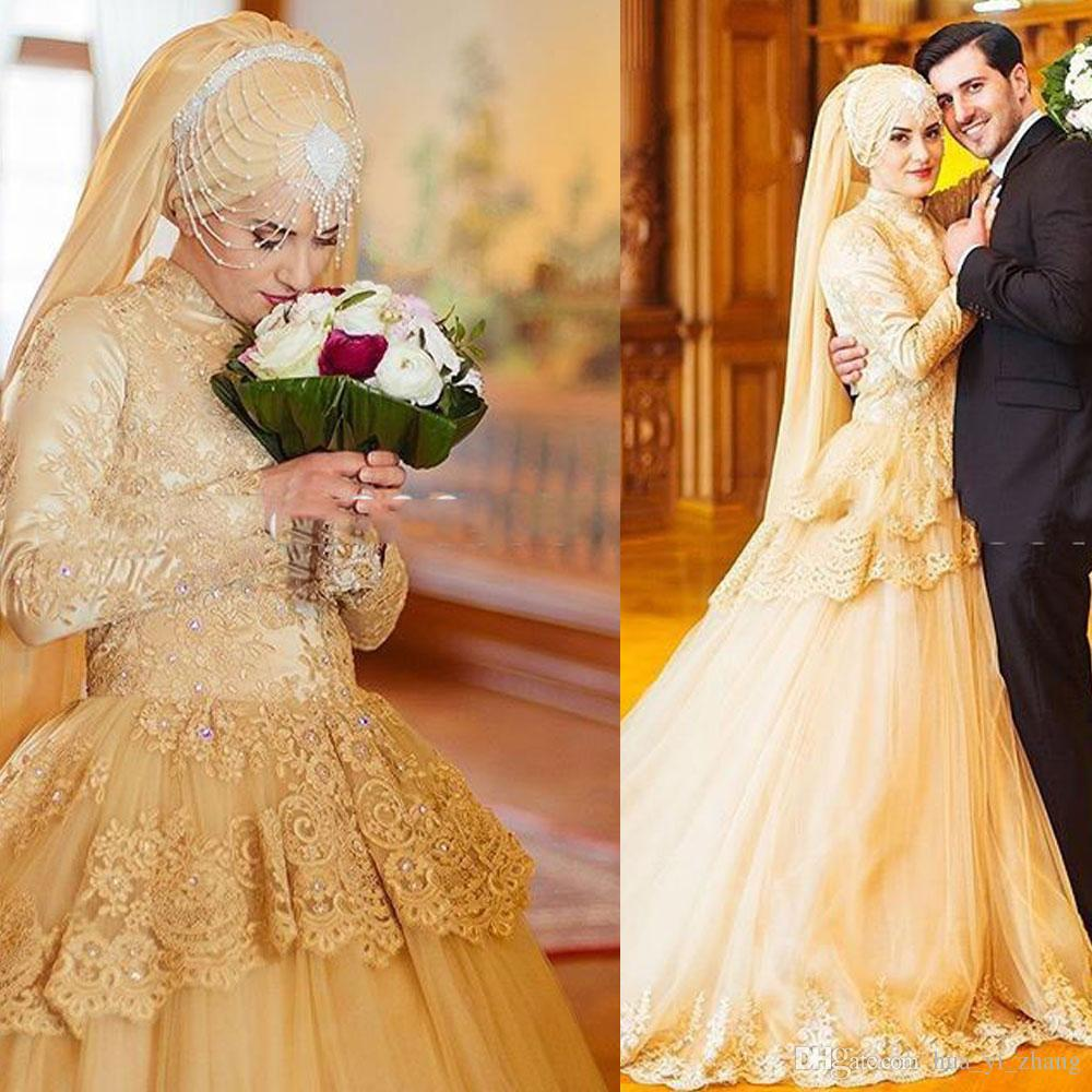 2015 Mais Recente Vestidos De Casamento Muçulmano Uma Linha de Renda Gola Alta Mangas Compridas com Peplum Tribunal Trem do Oriente Médio vestido de Noiva