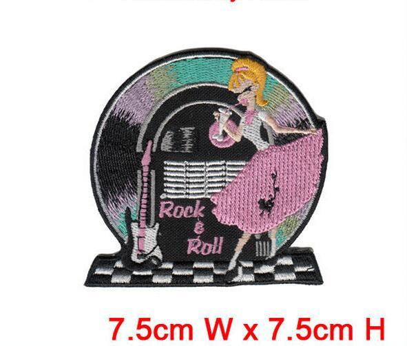 wholesale free shipping computer rock & roll music embroidery patches 10pcs/lot beautiful patch dress decration hot cut iron on cheap price
