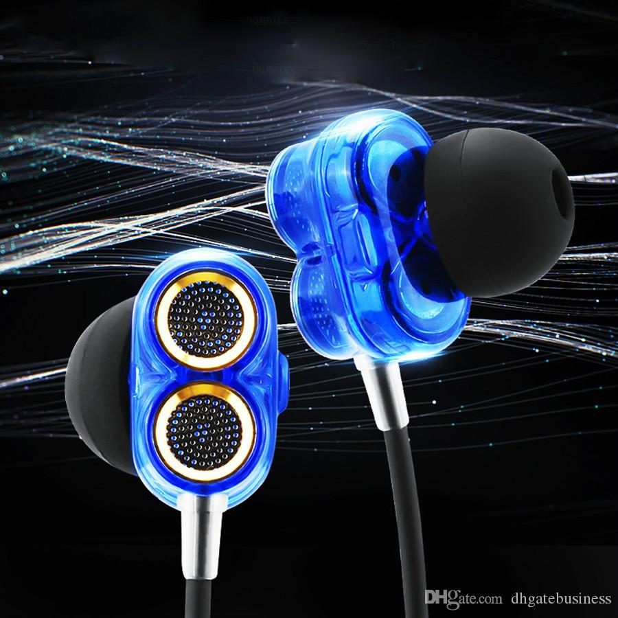 Newest Q2 in ear Earphone With Microphone HiFi Stereo Earbuds Wired Double moving circle Headset low bass headphones For iPhone samsung