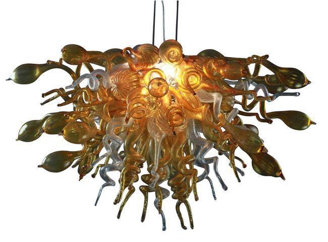 الشحن الجوي 100 ٪ الفم في مهب البورسليكات مورانو فن الزجاج الثريا قلادة ضوء مدهش الثريا شنقا مصباح ظلال