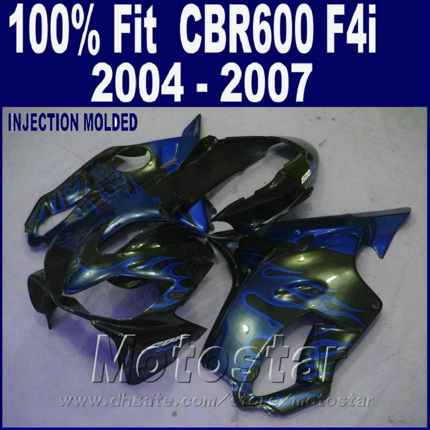 HONDA CBR 600 F4i fuarları için% 100 Enjeksiyon kalıplama kaporta takımı 2004 2005 2006 2007 mavi cbr600 f4i 04 05 06 07 GESW