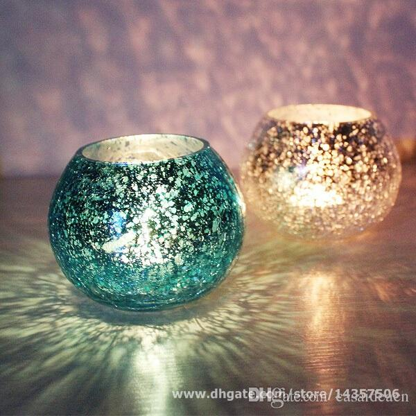 Handmade Mosaic Glass Tealight Holder Round Ice Texture Glass Candle Holders Red Blue Golden Siver Wedding Party Favors
