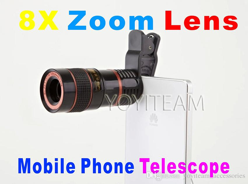 mobile phone universal telescope 8X zoom lens black color for iphone samsung smart phones