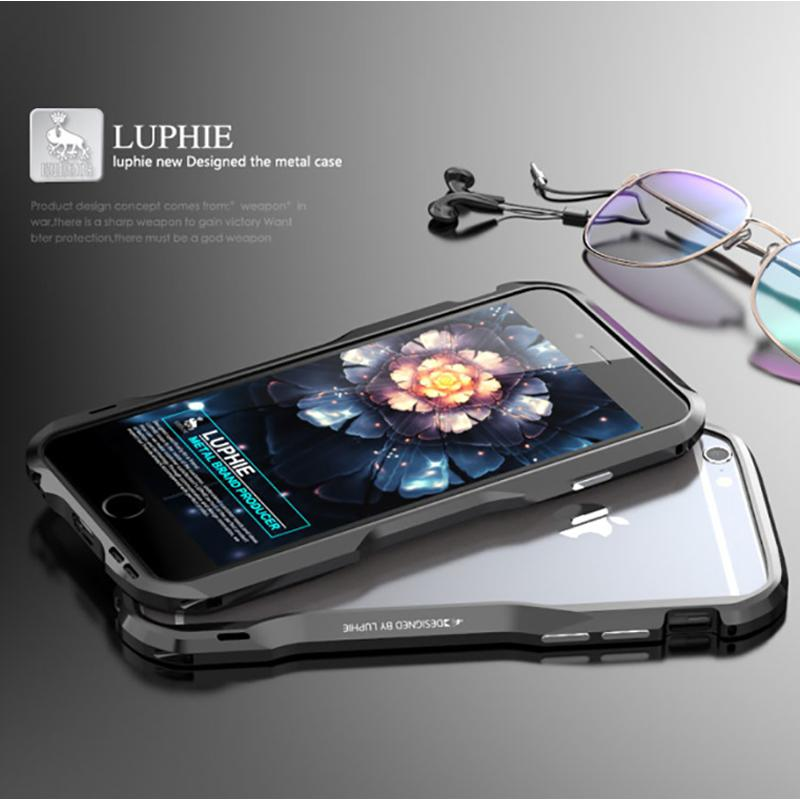"""Luphie Bumper For Iphone 6 4 .7 """"Aluminum Alloy Metal Frame Case For Apple Iphone 6s Plus 5 .5 Inch Armor Case"""