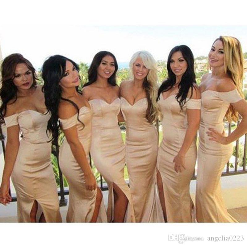 Champagne Elegant Mermaid Bridesmaid Dresses